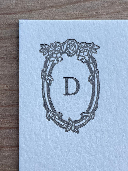 Letterpress Stationery. Your choice of Initial with Decorative Frame. Set of 30