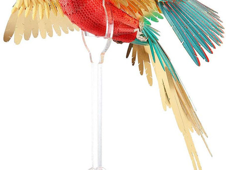Piececool 3d Metal Model Kit for Adults - Scarlet Macaw with Acrylic Stand DIY 3d Metal Jigsaw