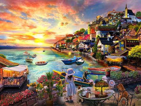 "HUADADA 1000 Piece Jigsaw Puzzles for Adults Kids | Harbour Sunset | 27.6""x 19.7"" Family Fun Jigsaw"