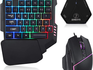 ZJFKSDYX C91 Pro Backlit Gaming Keyboard and Mouse with Video Game for PS, Xbox One, Switch, PC