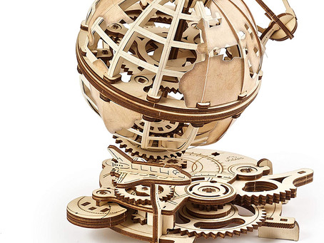 UGEARS Globe Wooden 3D Puzzles - Spinning Wooden Construction Kit - Mechanical Globe: The Shuttle
