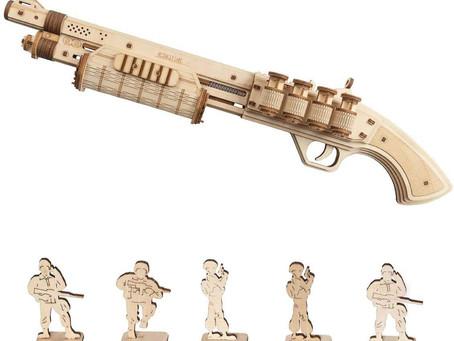 ROBOTIME TERMINATOR M870 Wooden Gun Kit - Mechanical Building Model Kit 3D Wooden Puzzle for  Adults