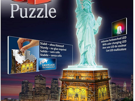 Ravensburger 12596 Statue of Liberty Night Edition 108 Piece 3D Jigsaw Puzzle with LED Lighting