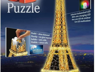 Ravensburger Eiffel Tower Night Edition 216 piece 3D Jigsaw Puzzle with LED lighting for Adults