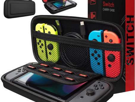 Orzly Carry Case Compatible With Nintendo Switch - BLACK Protective Hard Portable Travel Carry Case