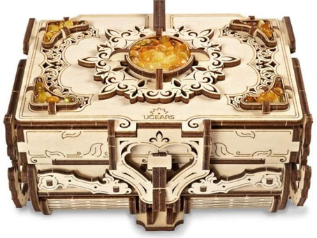 UGears 3D Wooden Puzzle Box - 3D Puzzle Amber Wooden Box Wooden Model Kits for Adults