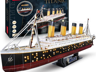 CubicFun 3D Jigsaw Puzzles for Adults LED Titanic Toys Model Kits Ship, Difficult Jigsaw Family