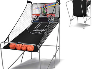 COSTWAY Foldable Basketball Arcade Game, Electronic 2 Player Shot with 8 Options and 4 Balls