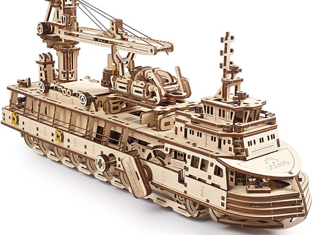 UGears 3D Puzzles Research Vessel - DIY Model Ship 3D - Exclusive Wooden Model Kits for Adults