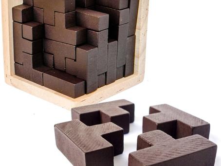 Original 3D Wooden Brain Teaser Puzzle. Genius Skills Builder T-Shape Pieces. 3D Puzzles For Adults