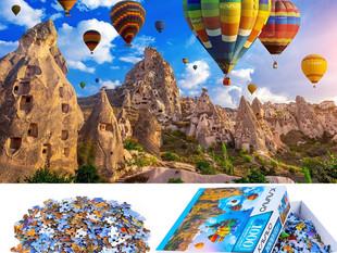 1000 Piece Blue Hard Cardboard Jigsaw Puzzle for Adults, Hot Air Balloon