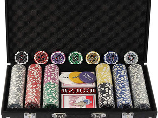 Display4top 300 Piece Texas Holdem Poker Chips Set with Aluminium Case ,2 Decks of Cards