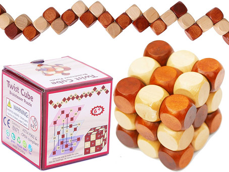 Toys of Wood Oxford Wooden Twist Cube IQ Puzzle - Wooden Brain Teaser - Brain Teaser Puzzle for All