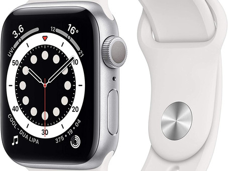 New Apple Watch Series 6 (GPS, 40mm) - Silver Aluminium Case with White Sport Band