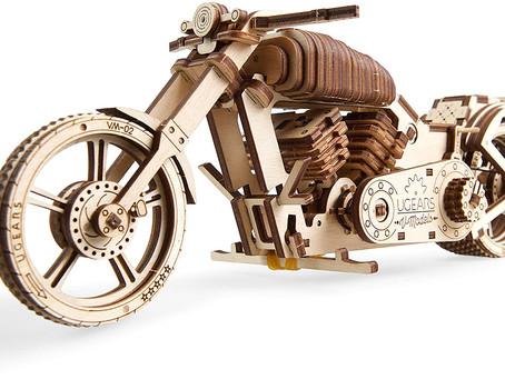 UGears Bike DIY Kit – Wooden Mechanical Motorcycle Project – Bike VM-02 Rubber Band Engine