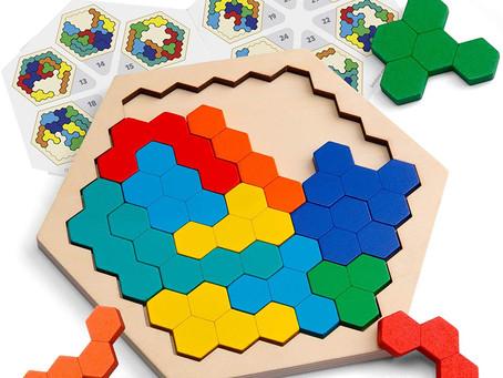 Coogam Wooden Hexagon Puzzle - Shape Block Tangram Brain Teaser Geometry Logic IQ Game STEM