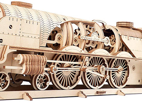 UGears 3D Puzzles For Adults V-Express Steam Train With Tender 3D Wooden Puzzle Model Kits
