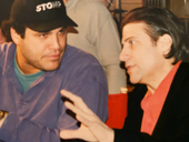 Richard Lewis discusses a shot with director Steve Klein