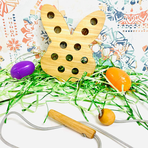 Wooden lacing toy (bunny)