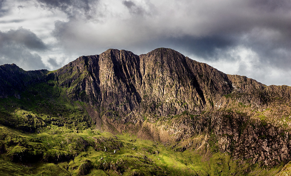 A mountain ridge at Snowdonia in Wales, UK