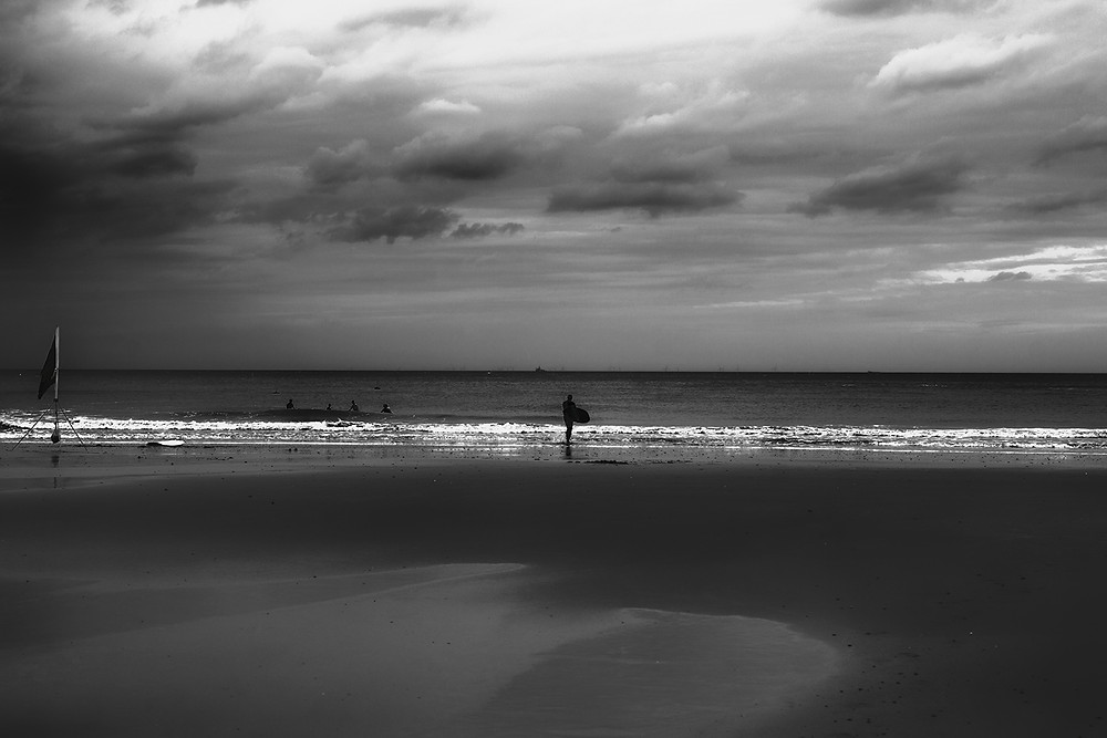 Cromer beach in black and white