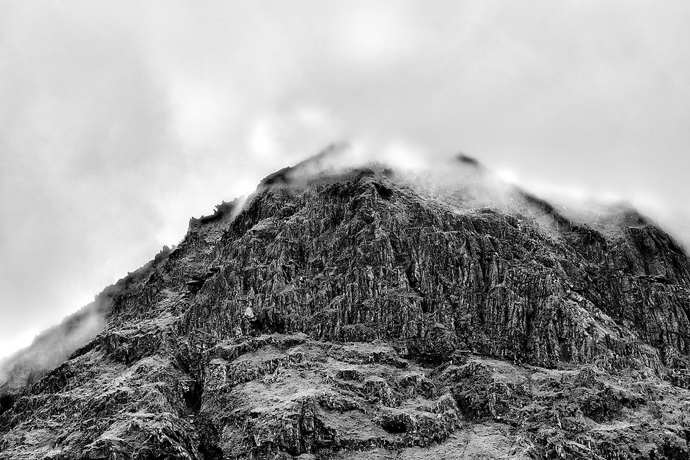 Mount Snowdon in black and white