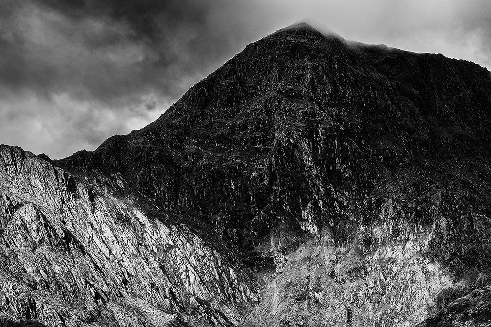 Mount Snowdon in black and white during bad weather