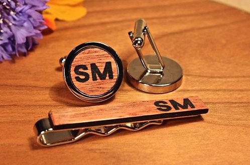 Wooden Gift Set - Luxury Cufflinks & Tie Clip, Personalised, Handmade