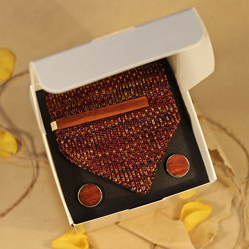 Wooden Gift Set with Tie - Cufflinks, Tie Clip & Tie, Personalised, Handmade
