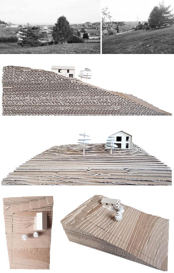 Maison bois dans la pente