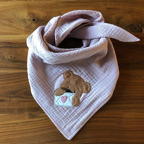 Musselin Halstuch Teddy mit Liebesbrief