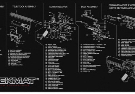 Pistol (1911 and Glock) and AR15 exploded view cleaning mats