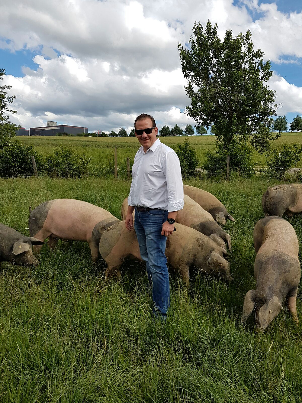 Andreas Vick begutachtet eine Schweinefarm