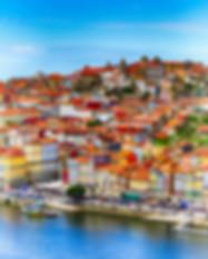 Porto, Portugal old town ribeira aerial