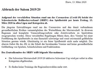 BREAKING NEWS: Saison 2019/20 per sofort beendet!