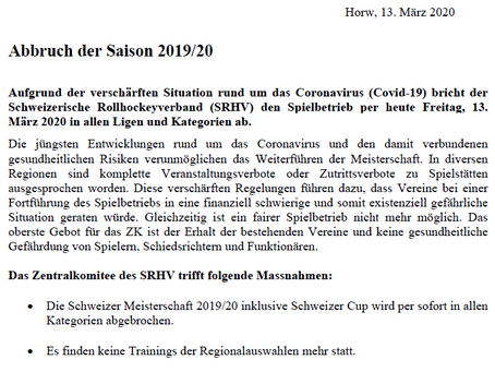 BREAKING NEWS: Saison 2019/20 per sofort beendet!
