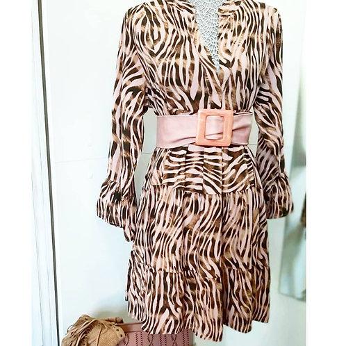 Vestido corto con volantes tigre