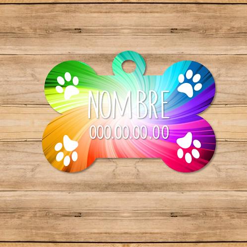 Chapa mascotas fondo multicolor