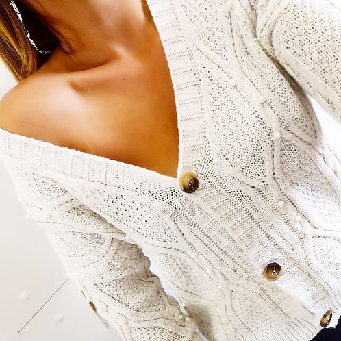 Chaqueta corta de lana con perlas