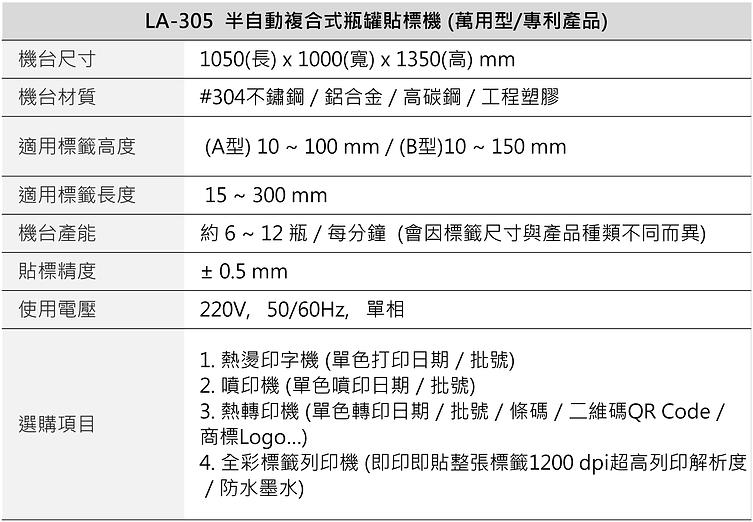 半自動複合式瓶罐貼標機 (萬用型/專利產品) LA-305