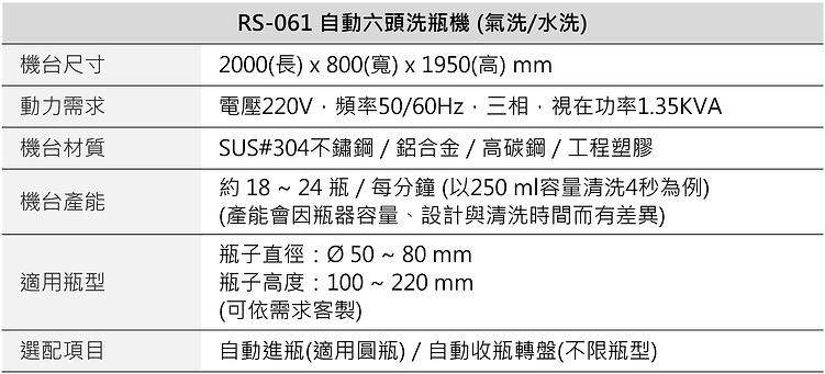 自動6頭氣洗洗瓶機 RS-061A