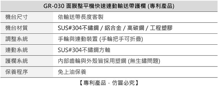 快速連動輸送帶護欄 (專利產品) GR-030
