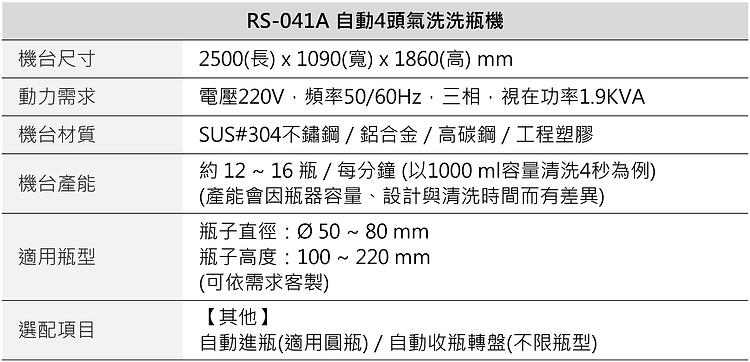 RS-041A 自動4頭氣洗洗瓶機