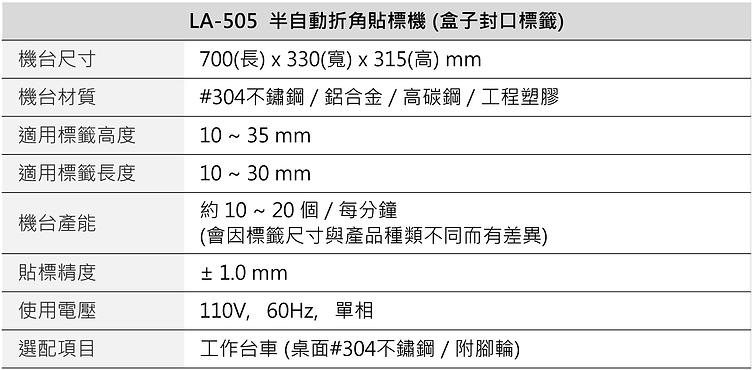 半自動折角貼標機 (盒子封口) LA-505