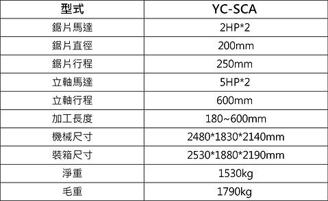YC-SCA 45°自動雙端切斷作榫機