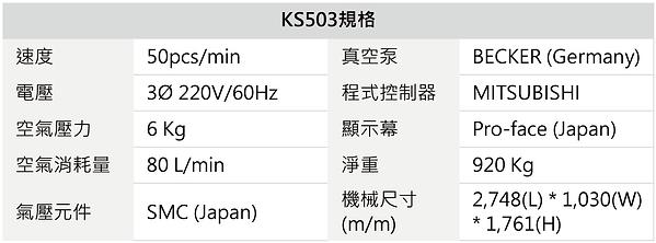KS503 泡殼組裝機