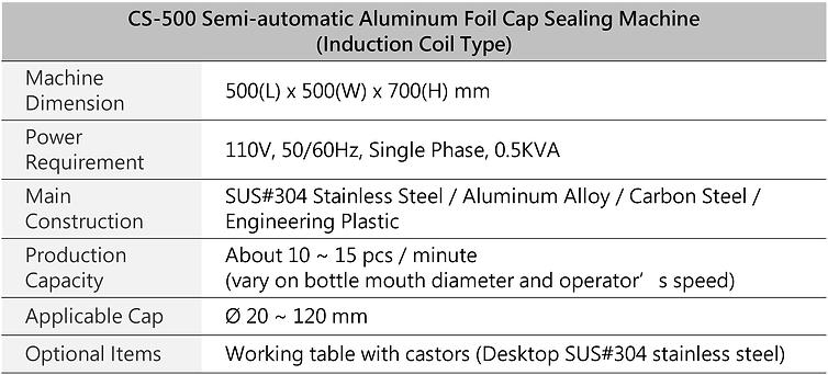 CS-500 Semi-automatic Aluminum Foil Cap Sealing Machine (Induction Coil type)