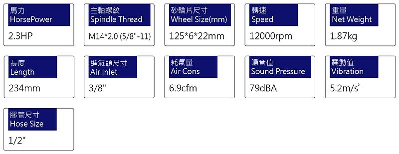 氣動砂輪機 PG-4506