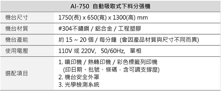 自動吸取式下料分張機 AI-750