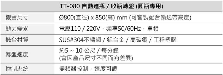 自動進瓶/收瓶轉盤 (圓瓶專用) TT-080